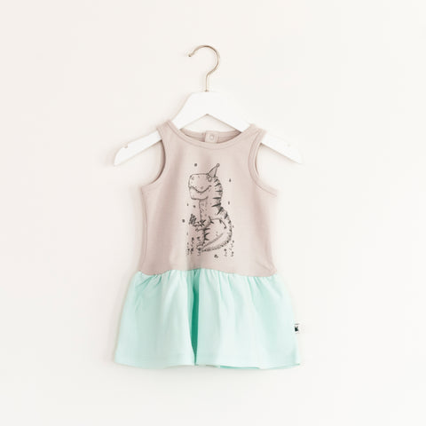 """Twirl"" Dress - Grey & Mint"