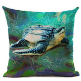 "Cushion Covers Marine Ocean Style Sea Turtle Patterns Square 18"" Cotton Linen-a2zshopping.com.au"