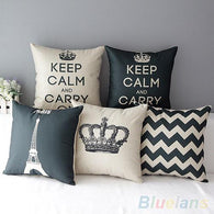 Retro Home Decorative Cotton Linen Blended Cushion Cover Crown-A2Z Shopping