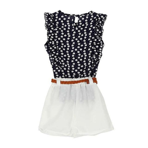 Summer Toddler Kids Baby Girls Clothes Sets Floral Chiffon Polka Dot Sleeveless T-shirt Tops+Shorts Outfits L16-a2zshopping.com.au
