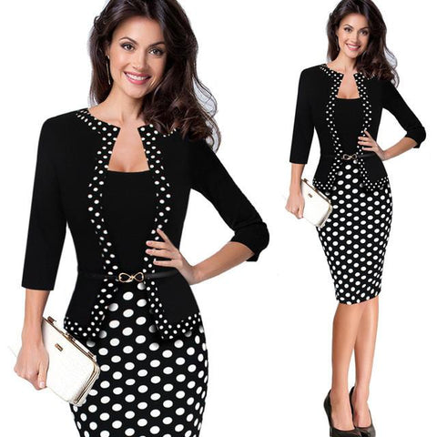 Vfemage Womens Autumn Retro Faux Jacket One-Piece Polka Dot Contrast Patchwork Wear To Work Office Business Sheath Dress 4116-a2zshopping.com.au