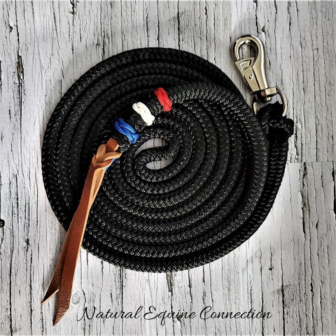 Custom Red White and Blue Lead Line made in Canada by Natural Equine Connection.