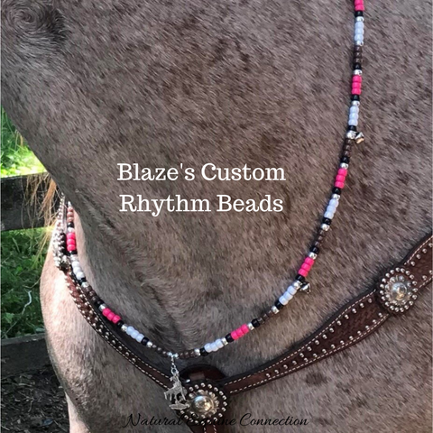 Blaze looks awesome wearing her fancy custom horse rhythm beads made by Natural Equine Connection