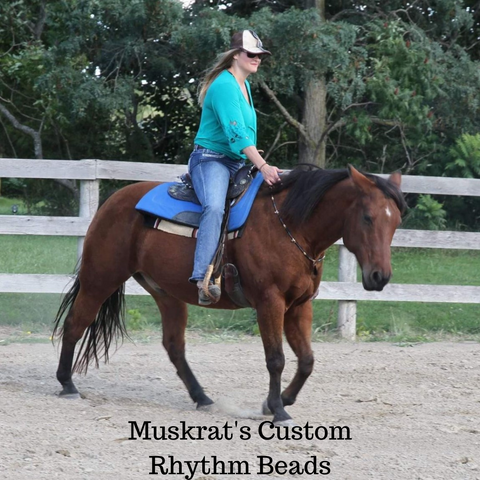 Muskrat is styling wearing his custom rhythm Beads while cruizing around bridleless. Made in Canada by Natural Equine Connection.