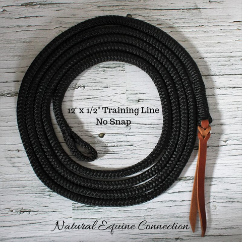 Our 12 foot rope horse training lead lines are made of the highest quality yacht rope used by many natural foundation horse trainers and clinicians. We also use the same rope for our neck ropes and reins. Made in Canada.