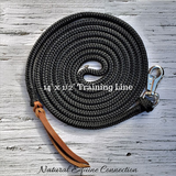 "Our 14' Long x 1/2"" diameter Horse Training Lines are excellent for groundwork, tying, leading, ponying, and flank rope training. It is the perfect weight to carry your message and feel precisely and accurately to the horse and the length is ideal for many applications."