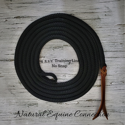 "Our 14' Long x 1/2"" diameter Horse Training Lines are excellent for groundwork, tying, leading, ponying, and flank rope training."
