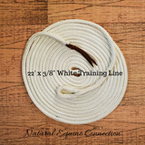 Our 22 foot horse ground training lines are a must have tool to refine your groundwork and driving. They are very versatile and can be used in multiple ways.  These lines are extremely light and offer a soft feel. It helps you along the way for great success in line driving, liberty, foal training, and can also be used for cinch/flank desensitizing by attaching a ring.