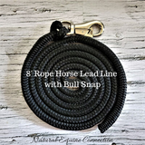 "Our 8 foot x 1/2 inch horse lead rope is just the right length for leading, ponying, and tying. They are made from the same premium yacht rope our working ropes are made of. This rope comes without a ""tasty"" popper on the end that our companions love to munch on, so it will stay looking great for a long time!"