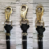 Our horse training lines and neck ropes look great with colored braided knot accents. There are many difeerent colors to choose from in either leather or paracord. Made in Canada.