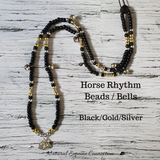 Horse Rhythm Balance Beads - Black / Transparent Gold Glitter / Clear / Silver