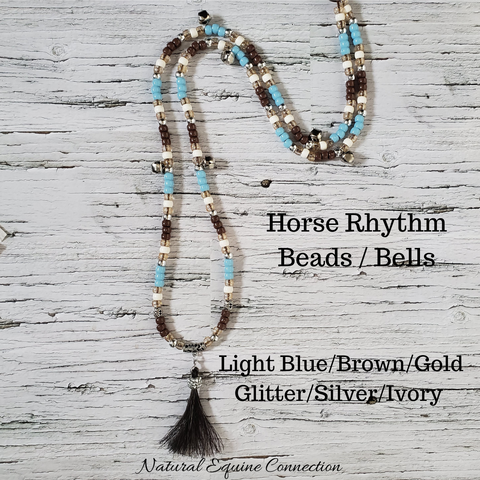 Horse Rhythm Balance Beads in Light Blue/Brown/Gold Glitter/Silver/Ivory