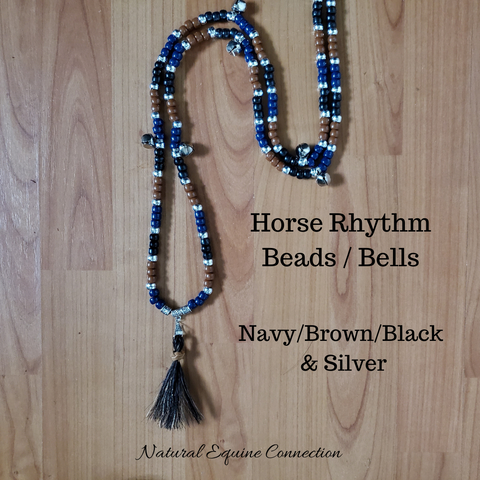 Horse Rhythm Balance Beads - Navy / Brown / Black & Silver