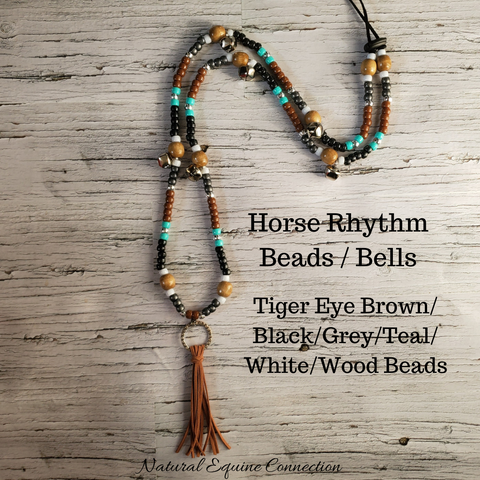 Horse Rhythm Balance Beads - Tiger Eye Brown / Black / Grey / Teal / Silver