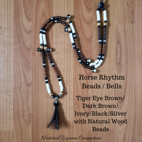 Horse Rhythm Balance Beads - Tiger Eye Brown / Dark Brown / Ivory / Black / Silver with Wood Beads