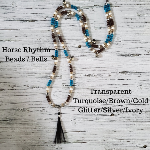 Horse Rhythm Balance Beads in Transparent Turquoise/Brown/Gold Glitter/Silver/Ivory