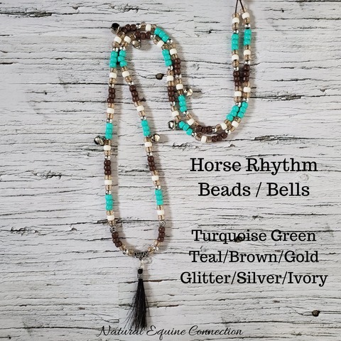 Horse Rhythm Balance Beads in Turquoise Green Teal/Brown/Gold Glitter/Silver/Ivory