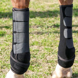 The Iconoclast Equine Extra Tall Support Boots come in black and are available in Canada.