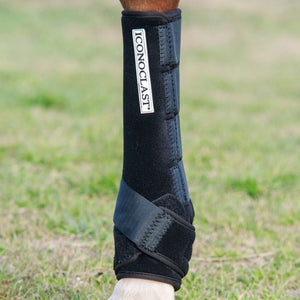 Top performance horse trainers and veterinarians recommend the Iconoclast Extra Tall Orthopedic Support Boots for ultimate protection for equines. Available in Canada at Natural Equine Connection.