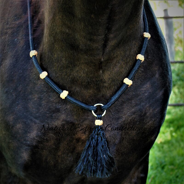Paracord Neck Rope Cordeo for Bridleless Riding Handmade Equestrian Tack  Blue and White Neck Rope