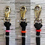 Natural Equine Connection offers custom horse training equipment with the option to add decorative braided knot accents in a variety of colors in either leather or paracord. All rope equipment is made of premium double braid polyester yacht rope. It is the same rope that top trainers and clinicians use, but at a fraction of the price. Made in Canada by Natural Equine Connection.