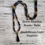 Horse Rhythm Balance Beads with Bells in Black / Brown / and Light Sapphire