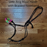 Slide ring rope horse halters are by far the best training tool for any horseman of any discipline. The slide ring allows the lead to put pressure on cheeks instead of chin. It can be used for riding and groundwork.