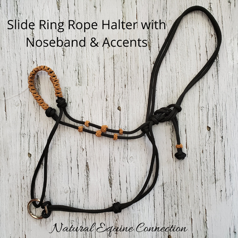 Our Slide Ring Rope Training Horse Halters with braided nosebands and decorative accents are very unique and stylish. You will always be able to identify your halter from others.