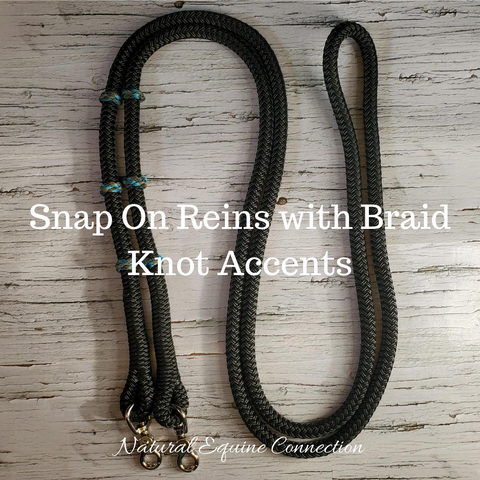 Snap On Rope Reins with Braid Knot Accents