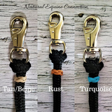 Horse training lines and neck ropes can easily be personalized by adding your choice of colored braided knot accents. Customized in Ontario Canada by Natural Equine Connection.