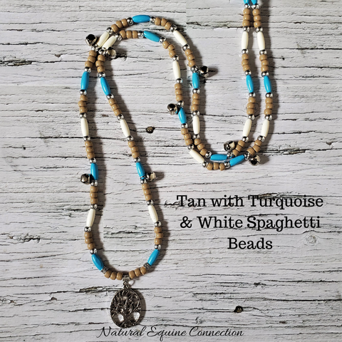 Horse Rhythm Balance Beads - Tan with Turquoise & White Spaghetti Beads