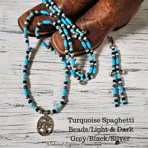 Horse Rhythm Balance Beads - Turquoise Spaghetti Beads with Black / Dark Grey / Light Grey /Silver