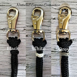 Customize your horse training lines or neck rope cordeos with the option to add color braided knot accents in either leather or paracord. Never get your equipment mixed up with someone else ever again. If you are looking for a longer line check out our 12', 14', 22' Lines