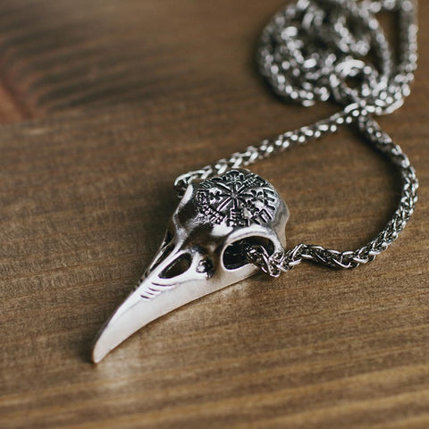 Image of Ægishjálmr Raven Skull Necklace
