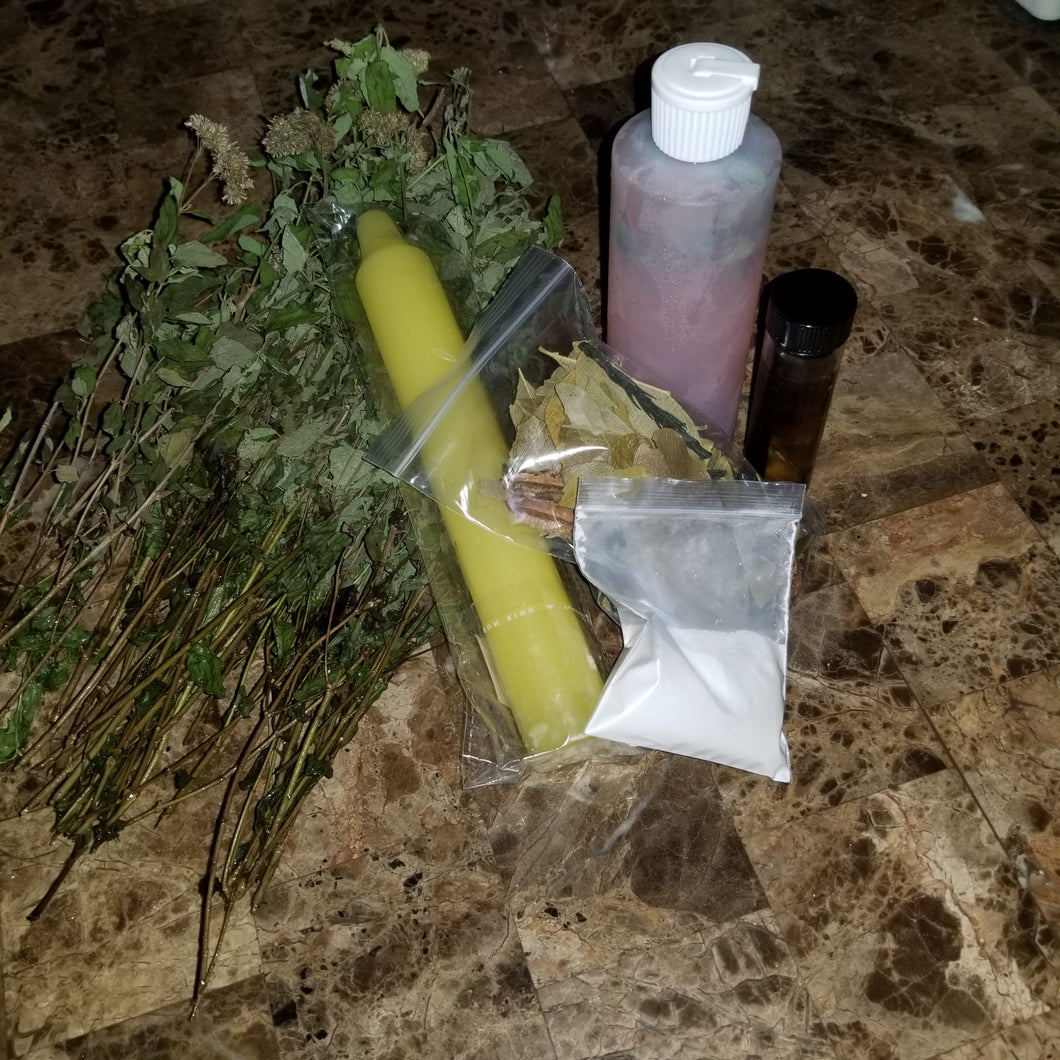 Special New Years Road Opener Ritual Kit with Liquid Abre Camino Bath made with fresh ingredients