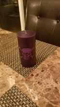 Black Pillar Candle with  skull