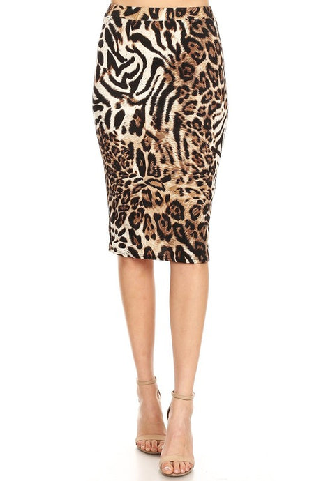 Animal Print Knee-Length Pencil Skirt