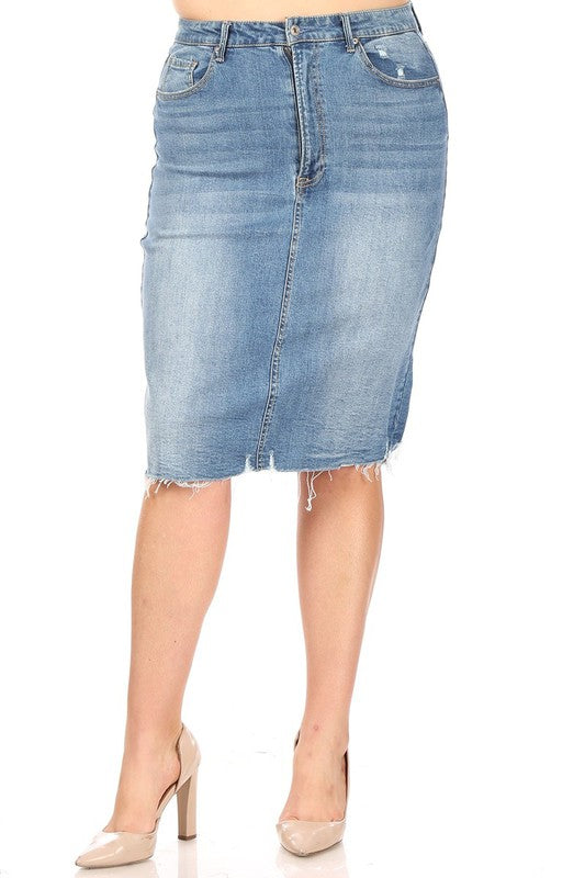Mid-Waist Frayed Hem Denim Skirt