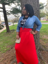 Shirred High-Waist Maxi Skirt Red