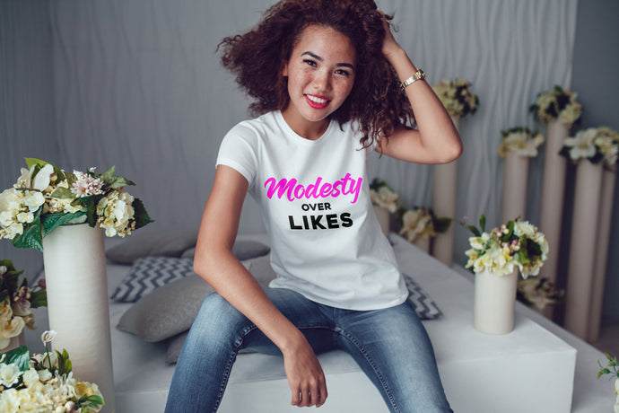 Modesty Over Likes T-shirt (White/pink/black)