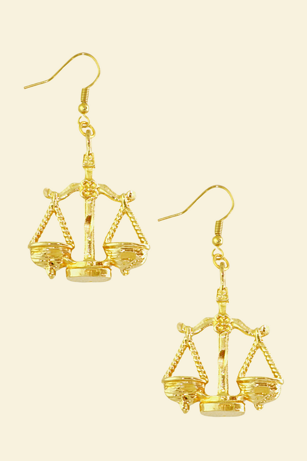 The Scales (Libra) - 24K Gold Filled Vintage Earrings