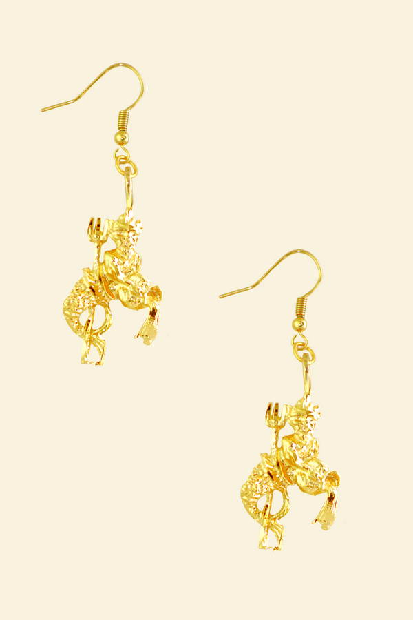 The Water Bearer (Aquarius) - 24K Gold Filled Vintage Earrings
