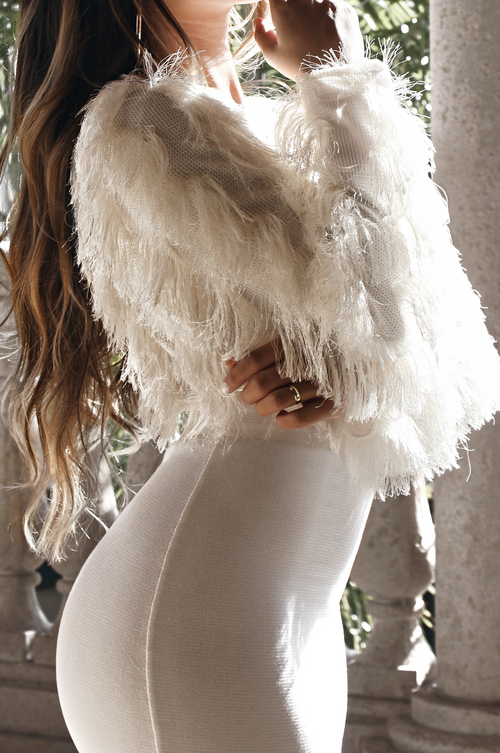 BREAKING BARRIERS FRINGE MESH SWEATER - IVORY