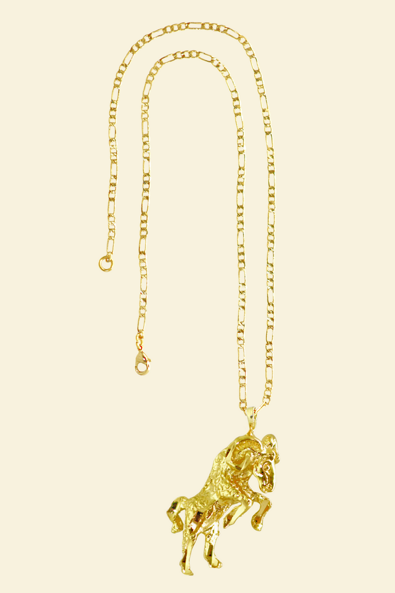 The Ram (Ariess) - 24K Gold Filled Vintage Necklace