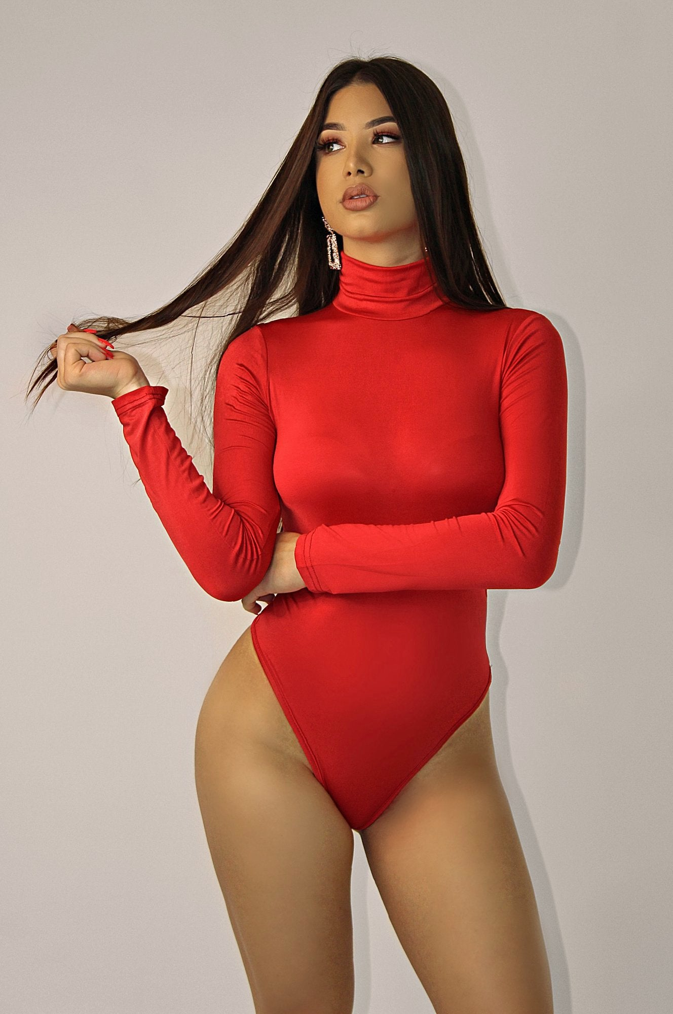 BRAZILIAN TURTLENECK BODYSUIT `RED