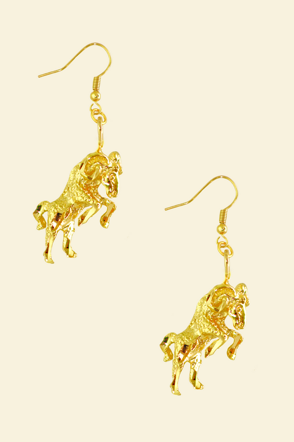 The Ram (Aries) - 24K Gold Filled Vintage Earrings