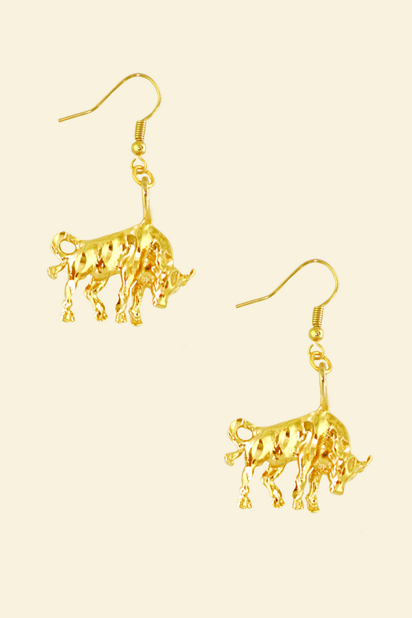 The Bull (Taurus) - 24K Gold Filled Vintage Earrings