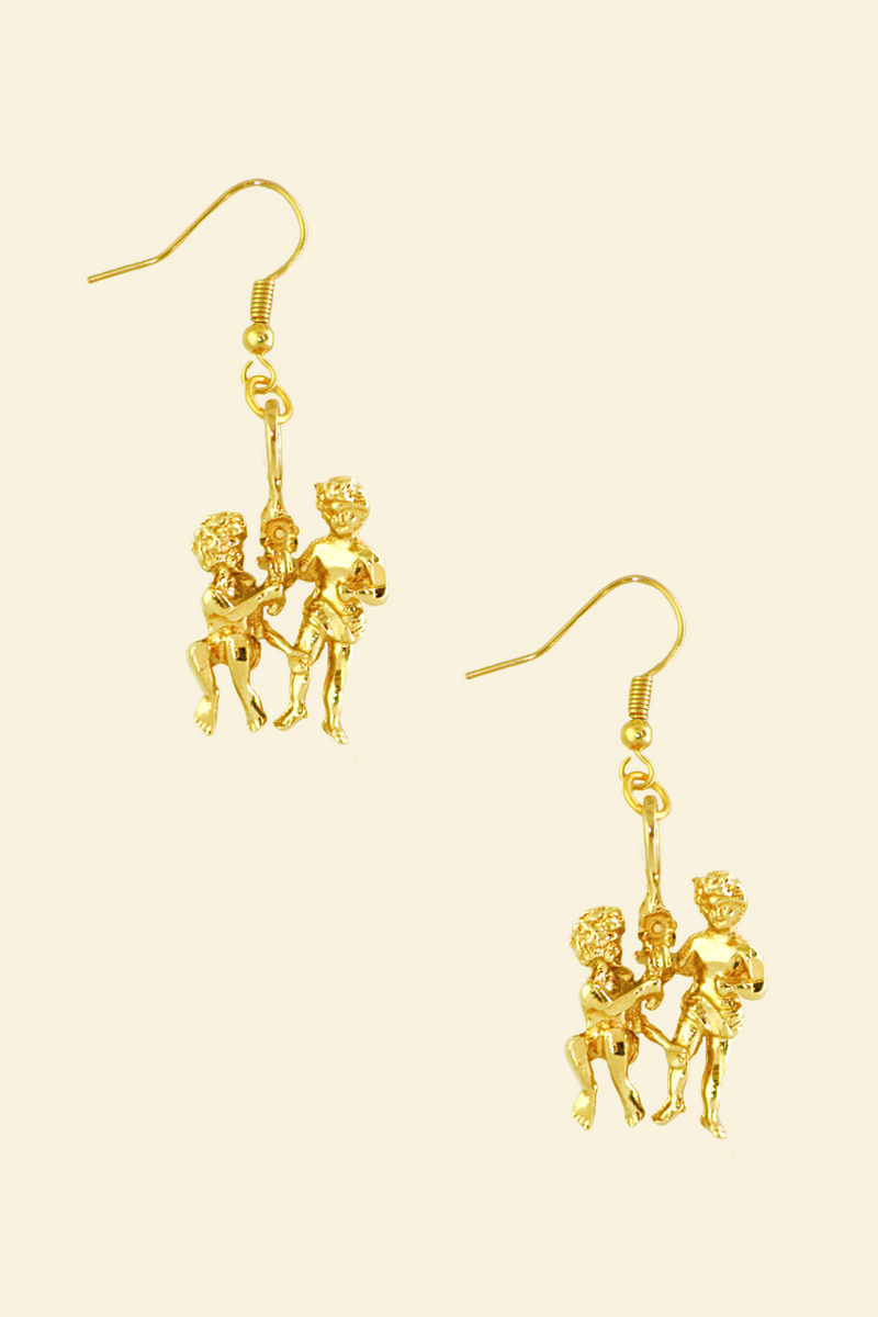 The Twins (Gemini) - 24K Gold Filled Vintage Earrings