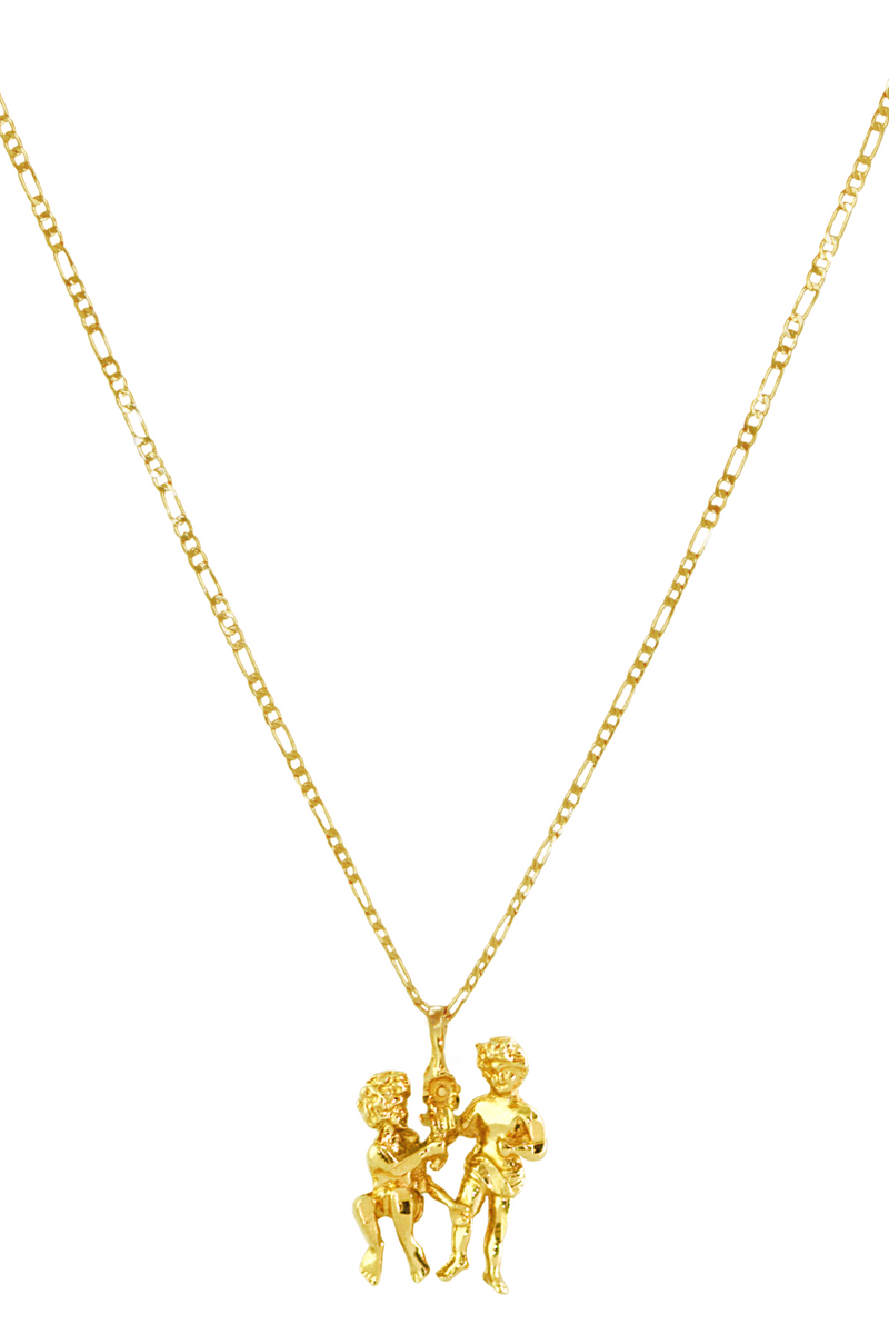 The Twins (Gemini) - 24K Gold Filled Vintage Necklace
