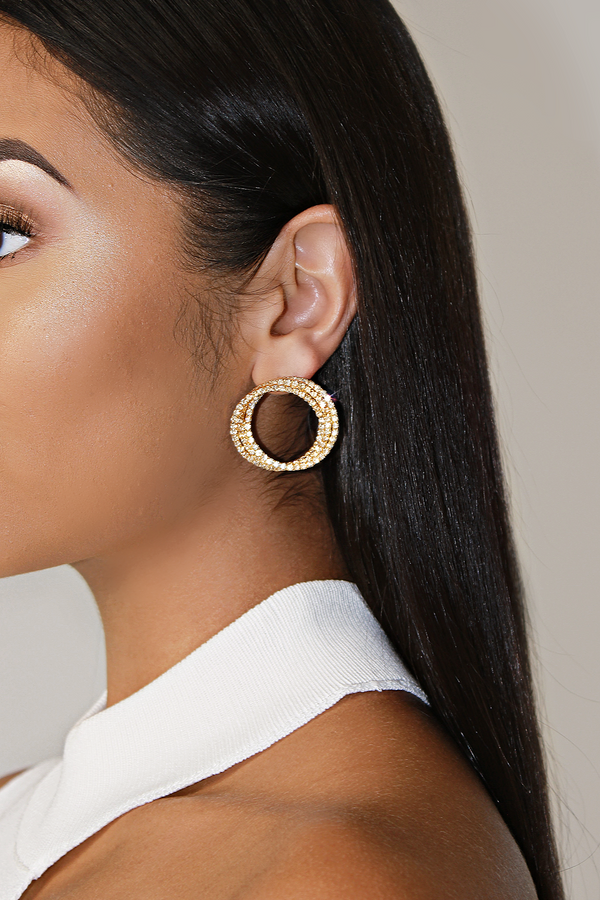 SERENITY GALA CIRCULAR LAYERED EARRINGS - GOLD
